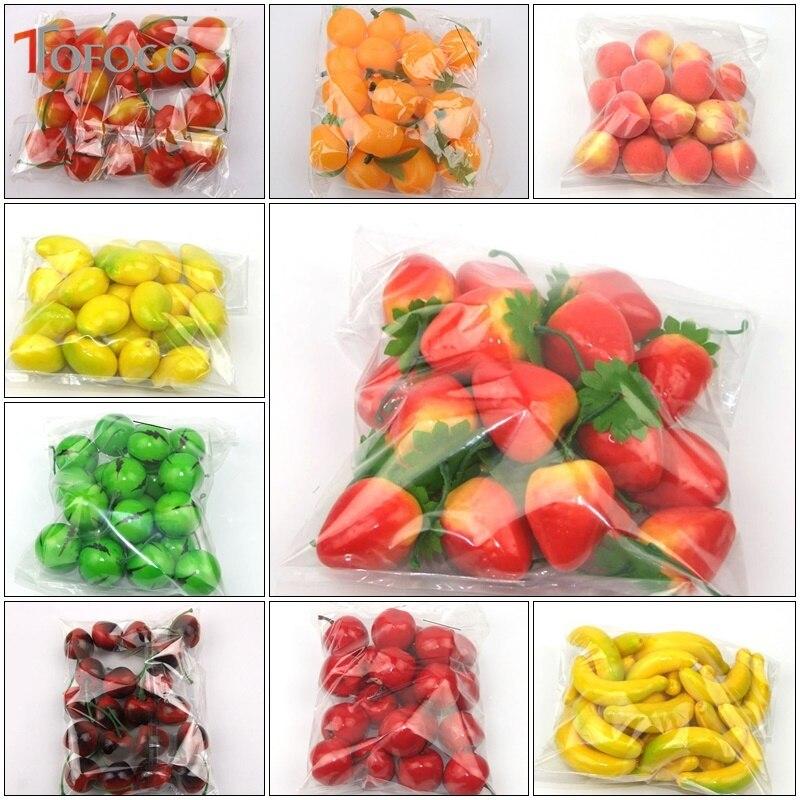 TOFOCO 20 pièces/ensemble Simulation en plastique Mini faux fruits décor pomme Orange citron fraise modèle artificiel accessoires maison fête décor