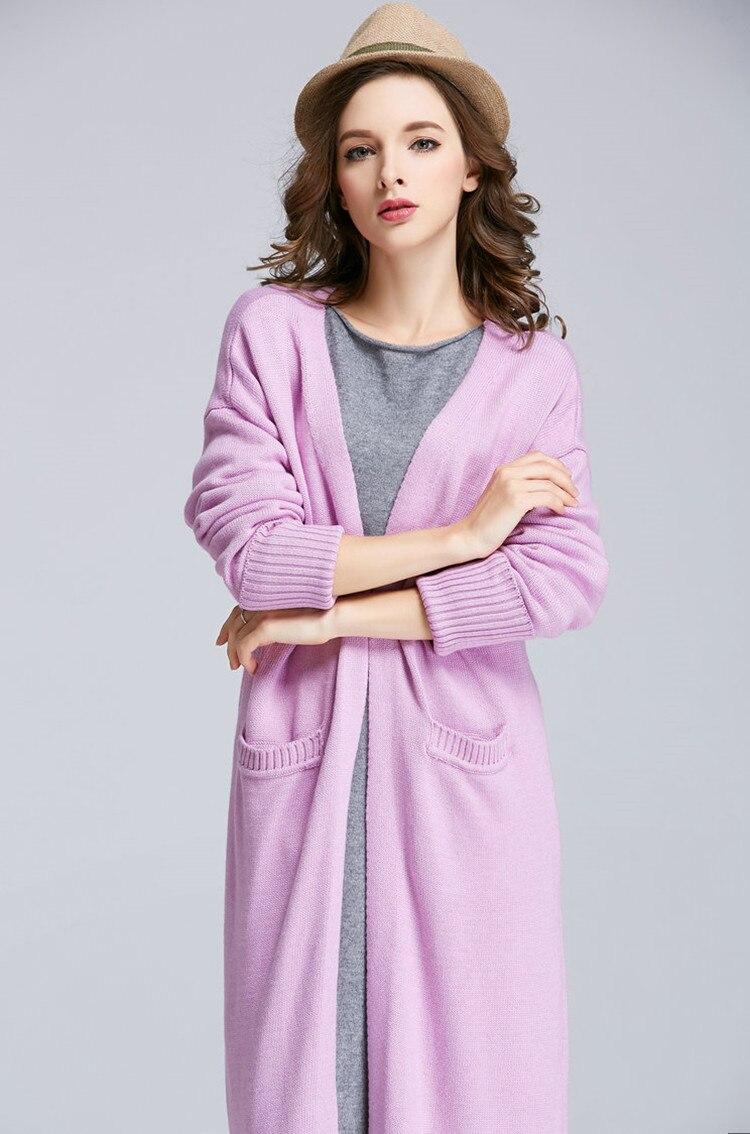 Spéciaux coton laine mélange tricot femmes mode super long cardigan chandail manteau S-XXL 5 couleurs - 3