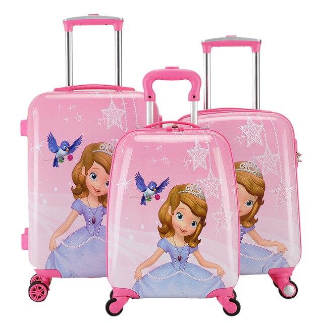 80a7d2f93336b الحلو فتاة الأميرة صوفيا المتداول الأمتعة الاطفال حقيبة سفر بعجلات الأطفال  ABS + PC