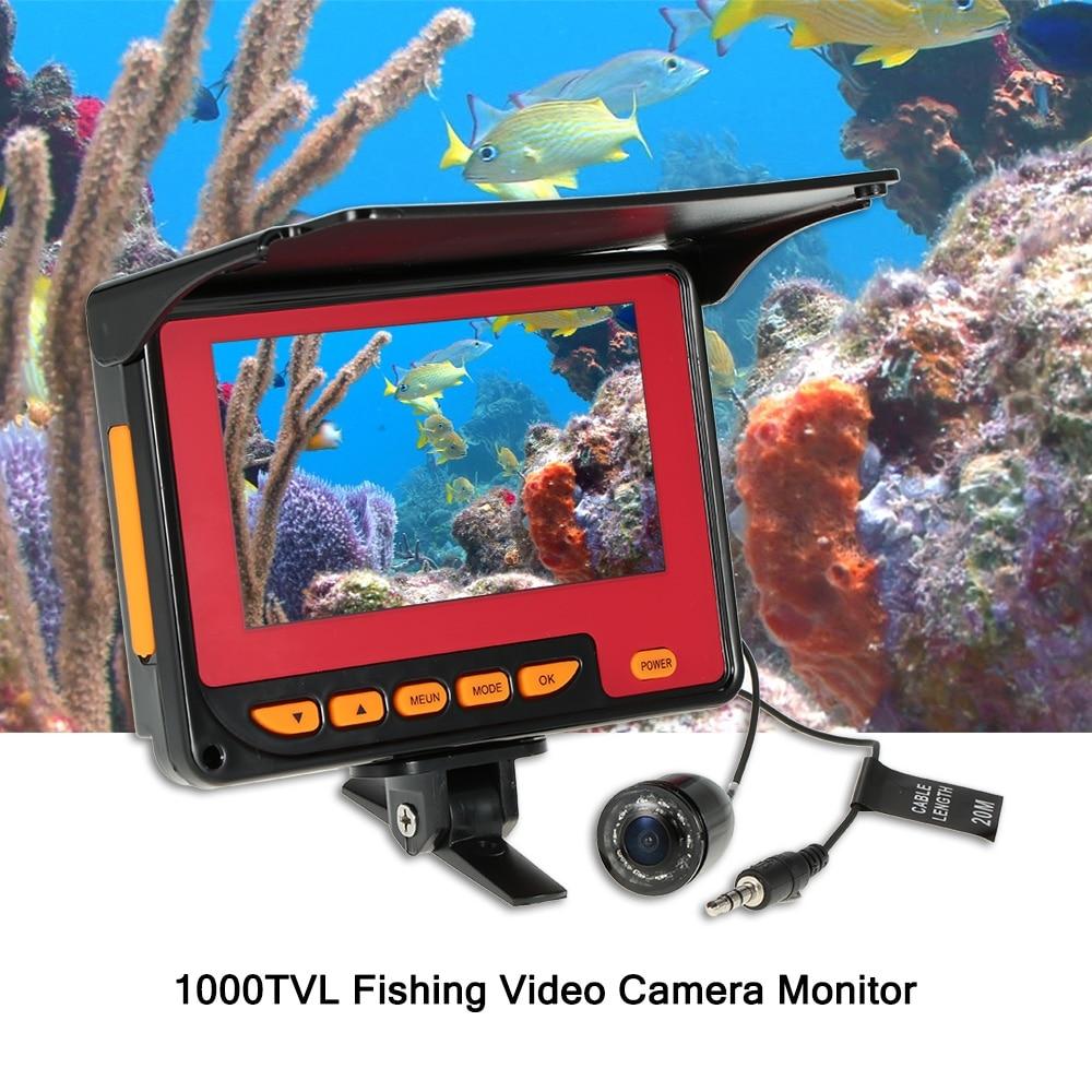Fishing Camera 20M Cable EU/US Plug 4.3 Digital LCD 1000TVL Fish Finder HD Fishing Video Monitor Underwater DVR RecorderFishing Camera 20M Cable EU/US Plug 4.3 Digital LCD 1000TVL Fish Finder HD Fishing Video Monitor Underwater DVR Recorder