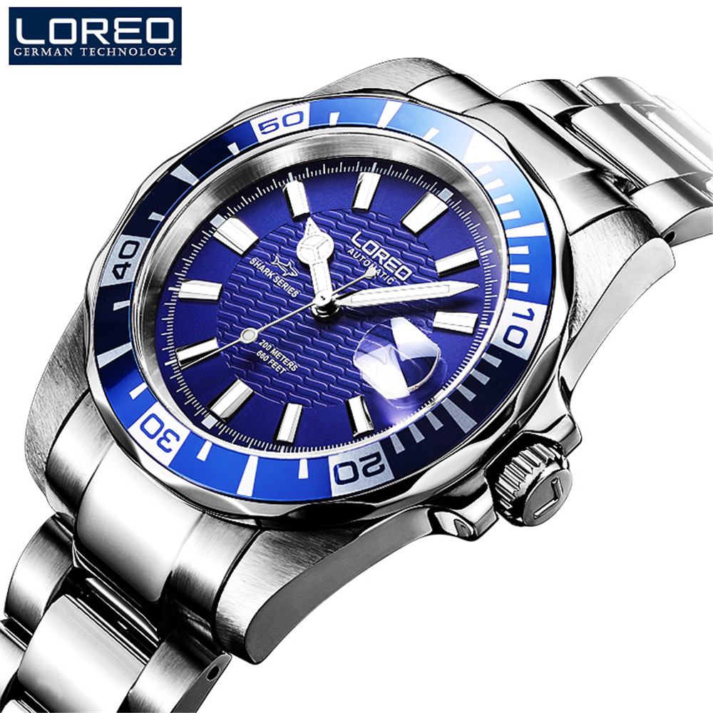 LOREO Automatic Self Wind Men Top Luxury Brand Casual Fashion Stainless Steel Watches Man Japan Mechanical