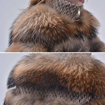 Elegant Real Fur Coat Women 2019 Autumn Winter Warm Soft Zipper Fur Jacket Female Plush Overcoat Pocket Casual Outwear