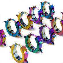 10Pcs/lot Fashion Punk Spike Hoop Earrings For Men Stainless Steel Mens Huggie Black/Silver/Gold