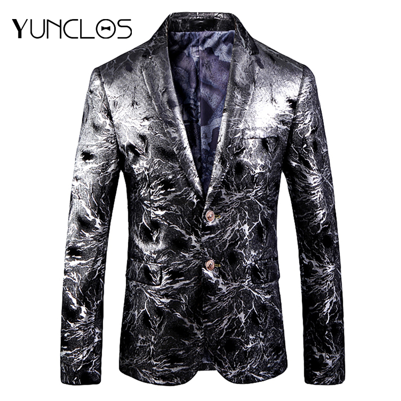 YUNCLOS  Autumn New Men Blazer Slim Fit Sliver Wedding Suit Jackets For Men High Quality Blazer Jackets Americana Hombr