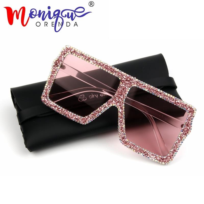 2018 Oversized Sunglasses Women Luxury Yellow Pink Small Gravel Rhinestone Sunglasses Vintage Shades Oculos De Sol Feminino