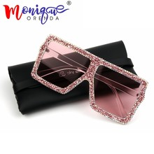 aa59be8cb 2018 Oversized Sunglasses Women Luxury Yellow Pink small gravel Rhinestone  Sunglasses Vintage shades oculos de sol feminino