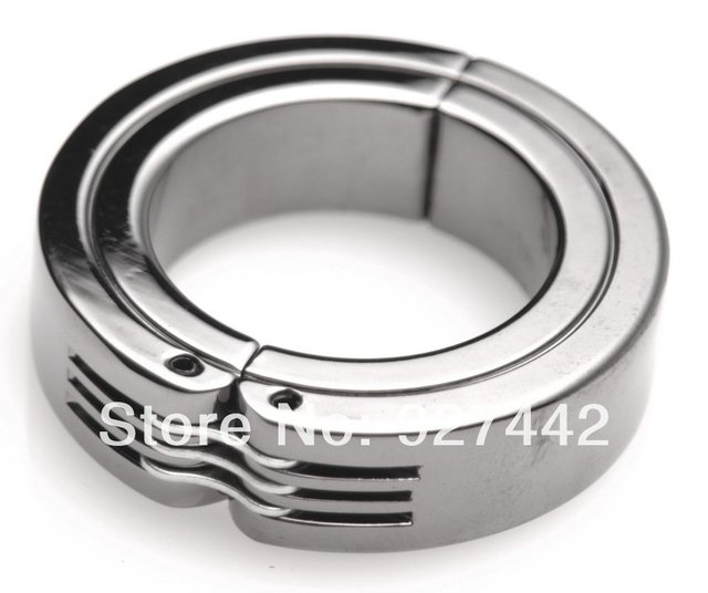 Dia50mm stainless steel Scrotum Stretchers  metal retractable pendant ball cock Ring chastity device lock delay sex toys for men