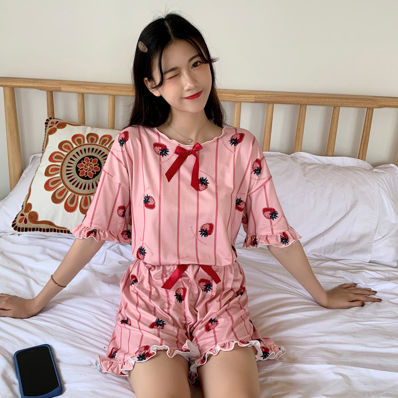2019 Summer Short sleeve   Pajama     Set   kawaii cartoon Print sleepwear for Women   Pajamas   short pant 2 Pieces   Set   Nightwear Pijamas