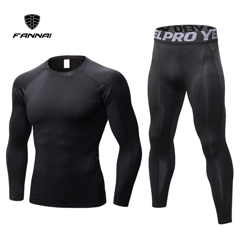 2019 New Men Sporting Suits Men Compression Shirt Canter Gyms Loping Tracksuits Male Breathable Bodybuildings Clothing 2 Pieces