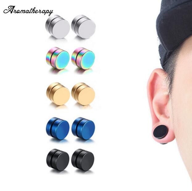 Punk Mens Strong Magnet Stainless Steel Circle Magnetic Clip Earrings Fake Plugs No Piercing