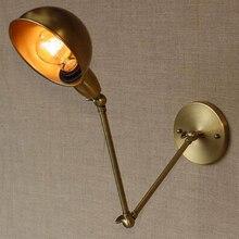 Vintage Swing largo brazo de hierro E27 bombilla LED lámpara de pared lámpara Deco hogar dormitorio Industrial articular de pared latón accesorios de iluminación