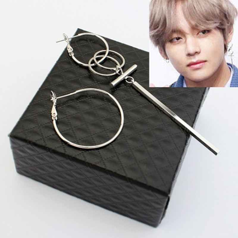 KPOP DNA Korean V Pop Bangtan Boys Album silver color Stud Earrings For Women Vintage Long Men Earrings Geometric hot sell image