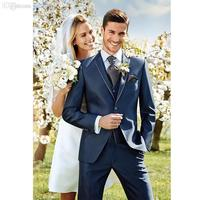 Navy Bule Wedding Groom Bestmen Blazer Custume HommeTuxedosNotch Lapel Two Buttons Men Suits Jacket Pant Vent