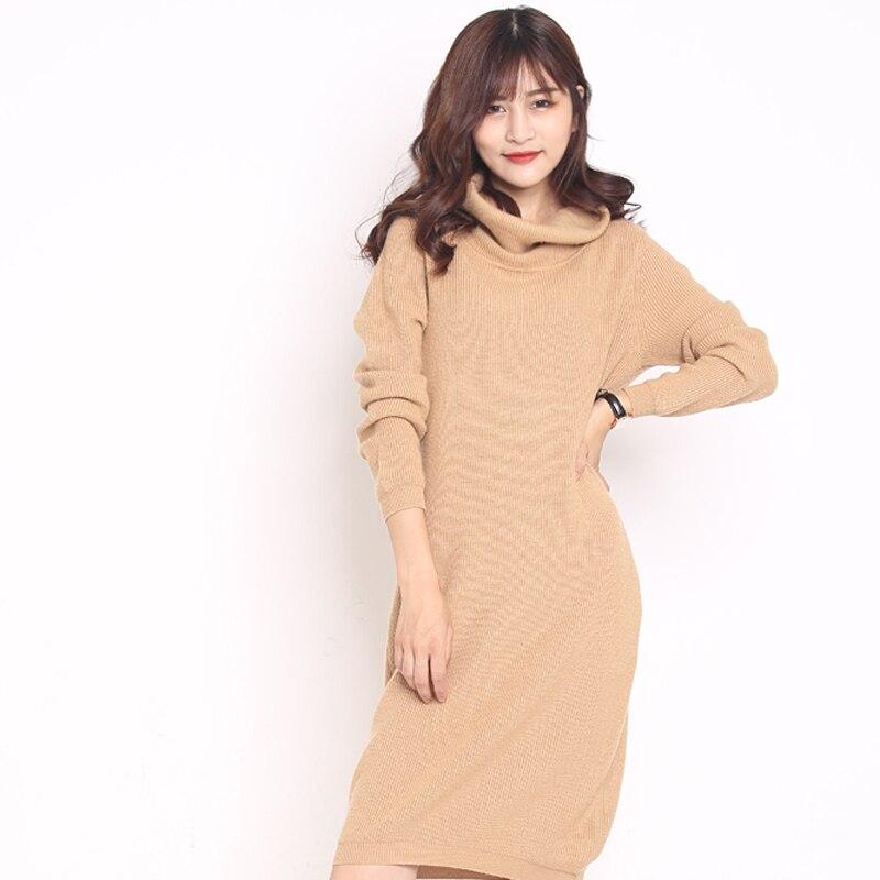 2019 haute qualité nouvelles femmes chandails mode col roulé cachemire pull femmes tricoté pull femmes sweter Long pull hauts