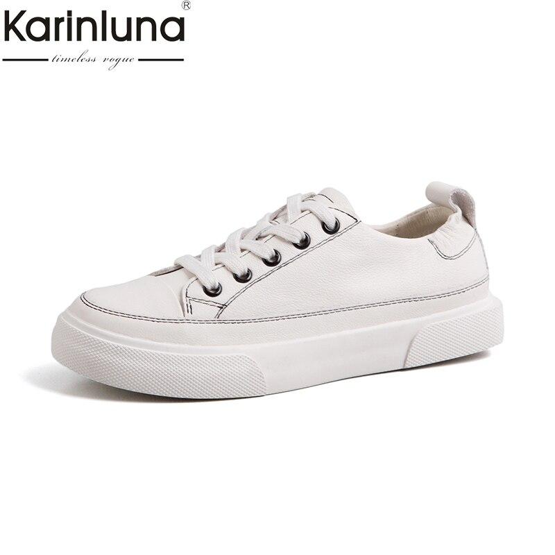 Karinluna Fashion genuine leather high quality Hot Sale Lace Up platform summer Shoes Woman Vulcanize Woman