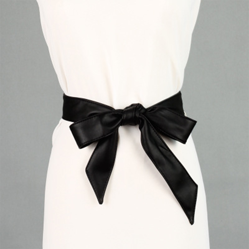 Female Belts Soft Leather Elegant Bow Knot Tie Wrap Around Waist Belt Solid Simply Classic Dress Belt Women Fashion Seven Colors
