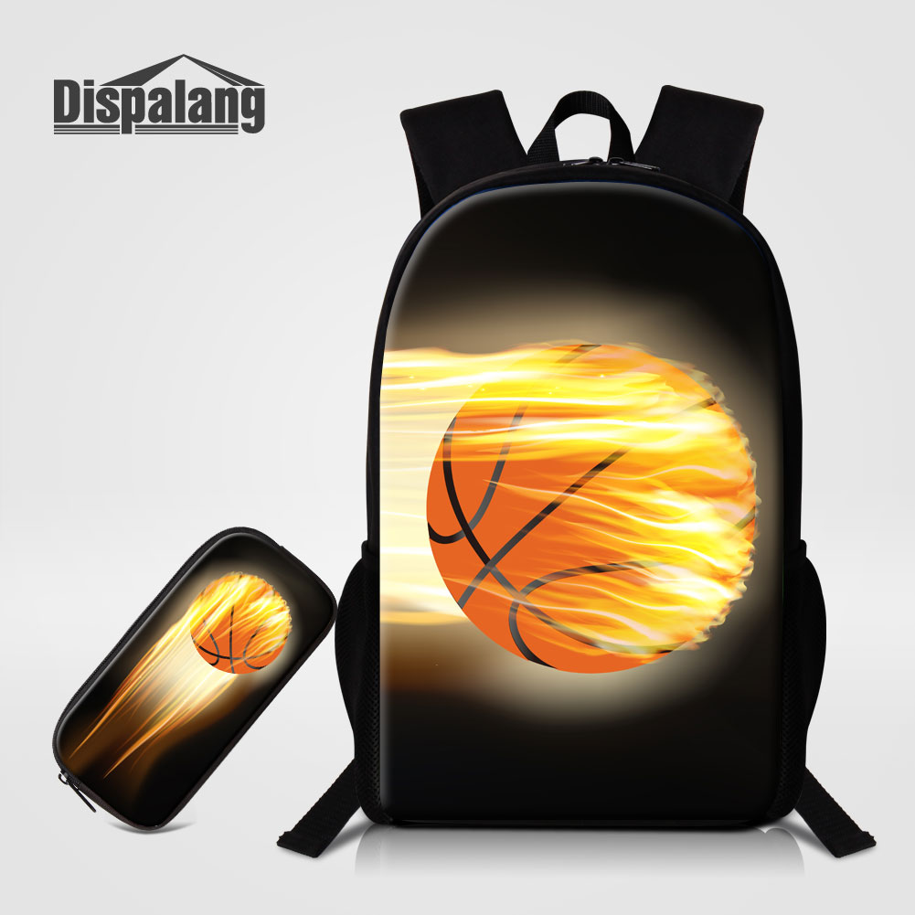 Dispalang 2 PCS/Set Basketballs Printed School Bookbags For High Class Soccers Oxford Backpacks Teenager Boys Rugzak Pencil Case