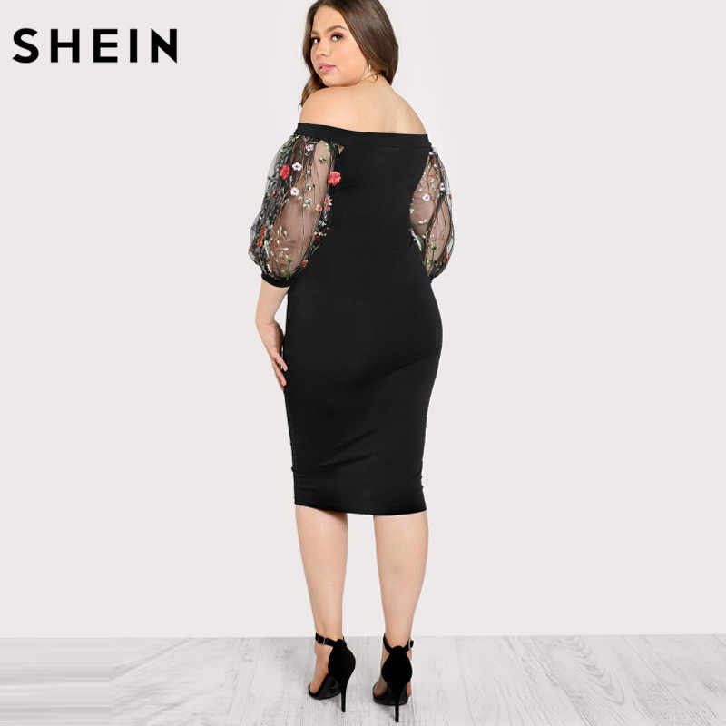 b0f54f0d97f63 ... SHEIN Black Plus Size Party Summer Dress Off the Shoulder Bardot Pencil  Dress Embroidered Mesh Sleeve ...