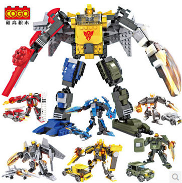 COGO Robot racing car armoured car Helicopter 2 in 1 Transformation 6 pcs/ lot Building Block Sets Educational DIY Bricks Toys