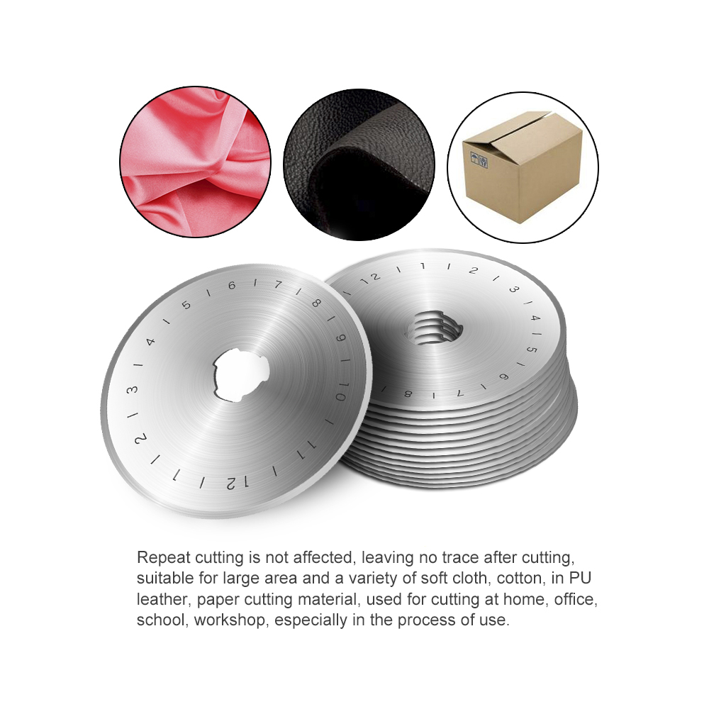 Hakkin 50pcs 45MM Rotary Cutter Cutters Blades Fabric Leather Paper Craft Steel Circular Refill Patchwork Roller Fits