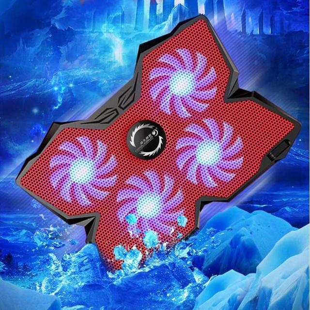 """Ice Magic 2 Cooler With 4 Silence Fans LED USB 2.0 Laptop Cooling Pad 12""""13""""14""""15""""17""""Laptop With Non slip Holder 2 USB Port"""