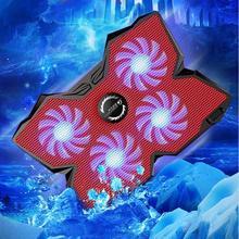 """Ice Magic 2 Cooler con 4 ventole silenziose LED USB 2.0 Laptop Cooling Pad 12 """"13"""" 14 """"15"""" 17 """"Laptop con supporto antiscivolo 2 porta USB"""