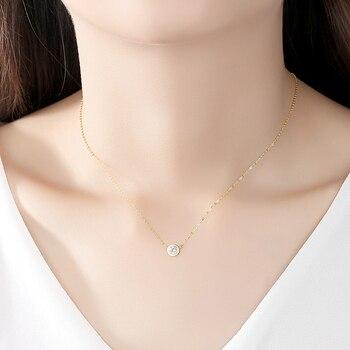 14k Gold Round Pendant Necklace with Zircon 4