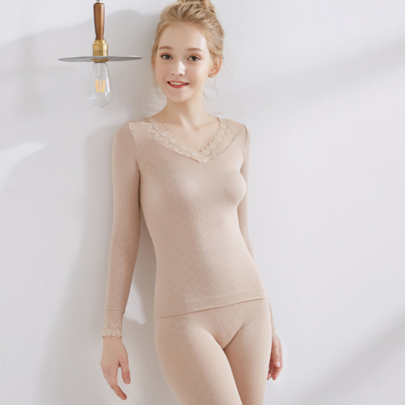 2018 New 4 Color Lace V-neck Heating Warm Suit Winter Women's Thermal Underwear Slim Shaped Body Knitting Jacquar Long Johns Set