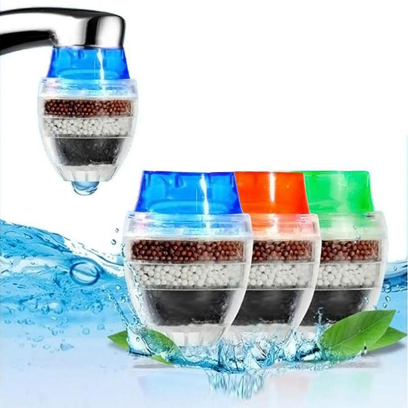 Alloet Mini Tap Faucet Water Filter Activated Carbon Faucet Tap Water Filter Water Purifier Filter Cartridge Filtration