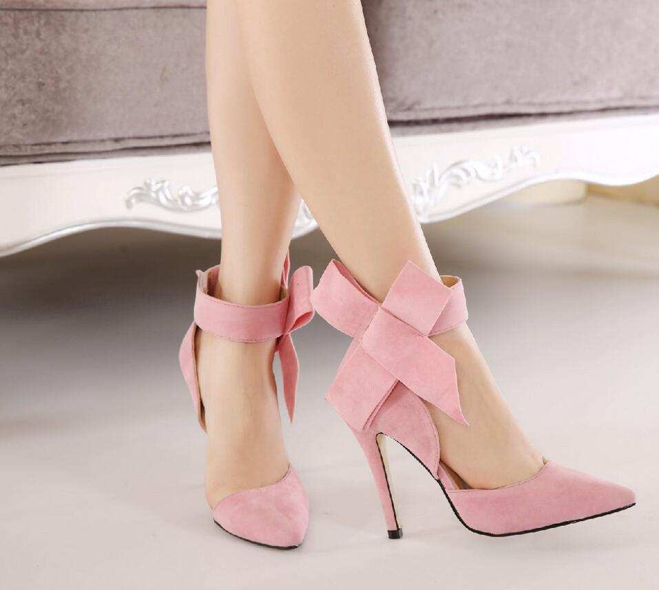 Plus Size Shoes Women Big Bow Tie Pumps 2017 Butterfly Pointed Stiletto Shoes Woman High Heels Wedding Shoes Bowknot advisable 8