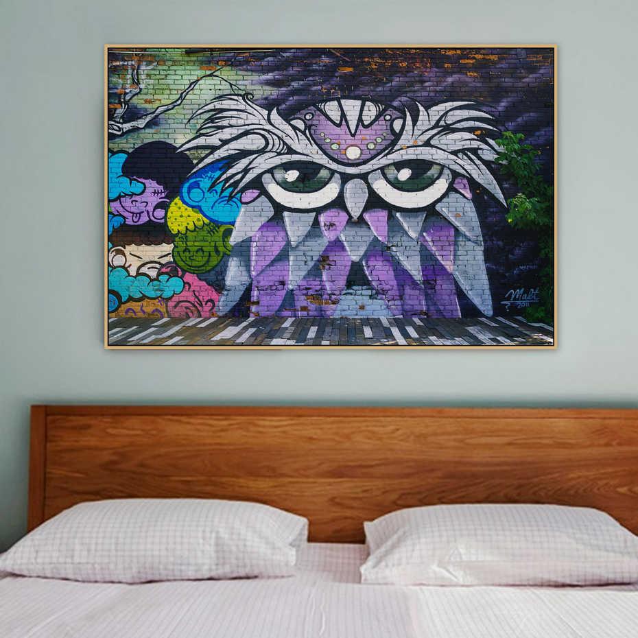 Сова граффити стрит-арт настенная Бэнкси Холст плакаты с живописью и печать поп настенные картины Гостиная домашний декор