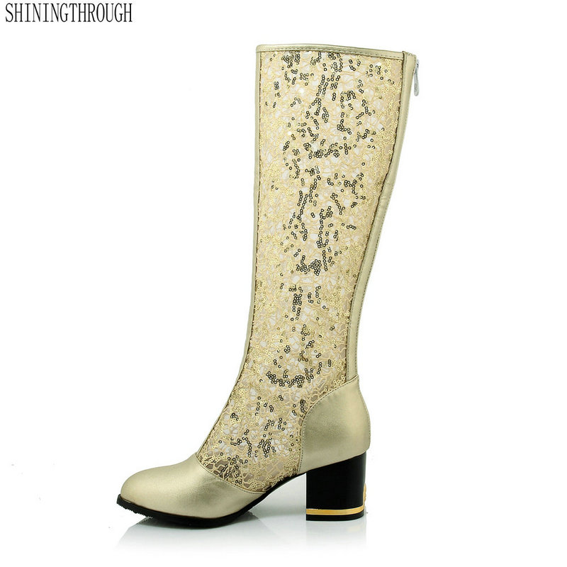 2018 Summer fashion boots woman cut-outs knee high boots 6cm high heels sexy women cool boots black white gold large size 43 patent leather knee high fashion women boots buckle strap cool motorcycle boots thin high heels cut outs sandals boots shoes