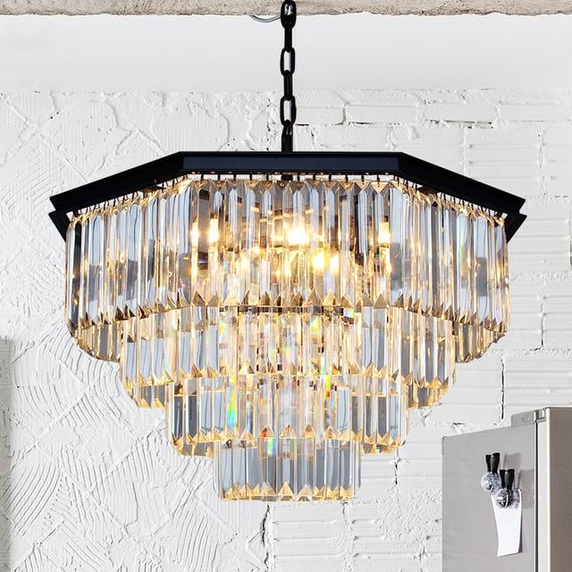 Nordischen Landhausstil Einfache Retro Octagonal Kristall Lampe Wohnzimmer  Esszimmer Schlafzimmer Kronleuchter E14 FÜHRTE Hängende Lampe Licht