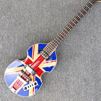 Good Quality 4 strings bass guitar,BB 2 electric guitar with UK flag top,flame maple back,Free Shipping