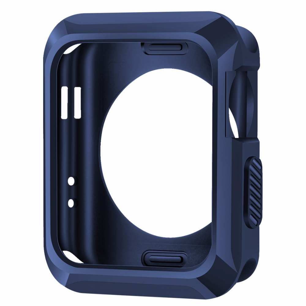 Shockproof Silicone Rubber Gel Skin TPU Soft Cases Covers for Apple iWatch Series 1/2/3 38mm 42mm without Screen Protector