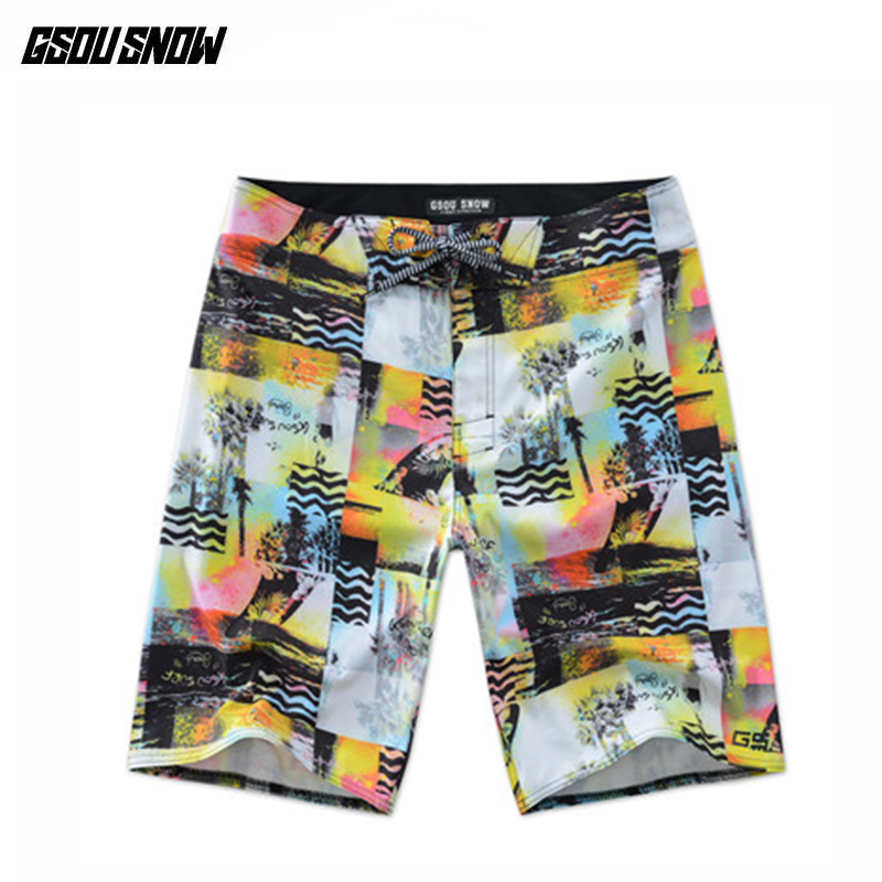 GSOU SNOW Men Surf   Shorts   Beach   Board     Shorts   Bermuda Surfing Trunks Swimwear Summer Swim   Shorts   Plus Size Printed