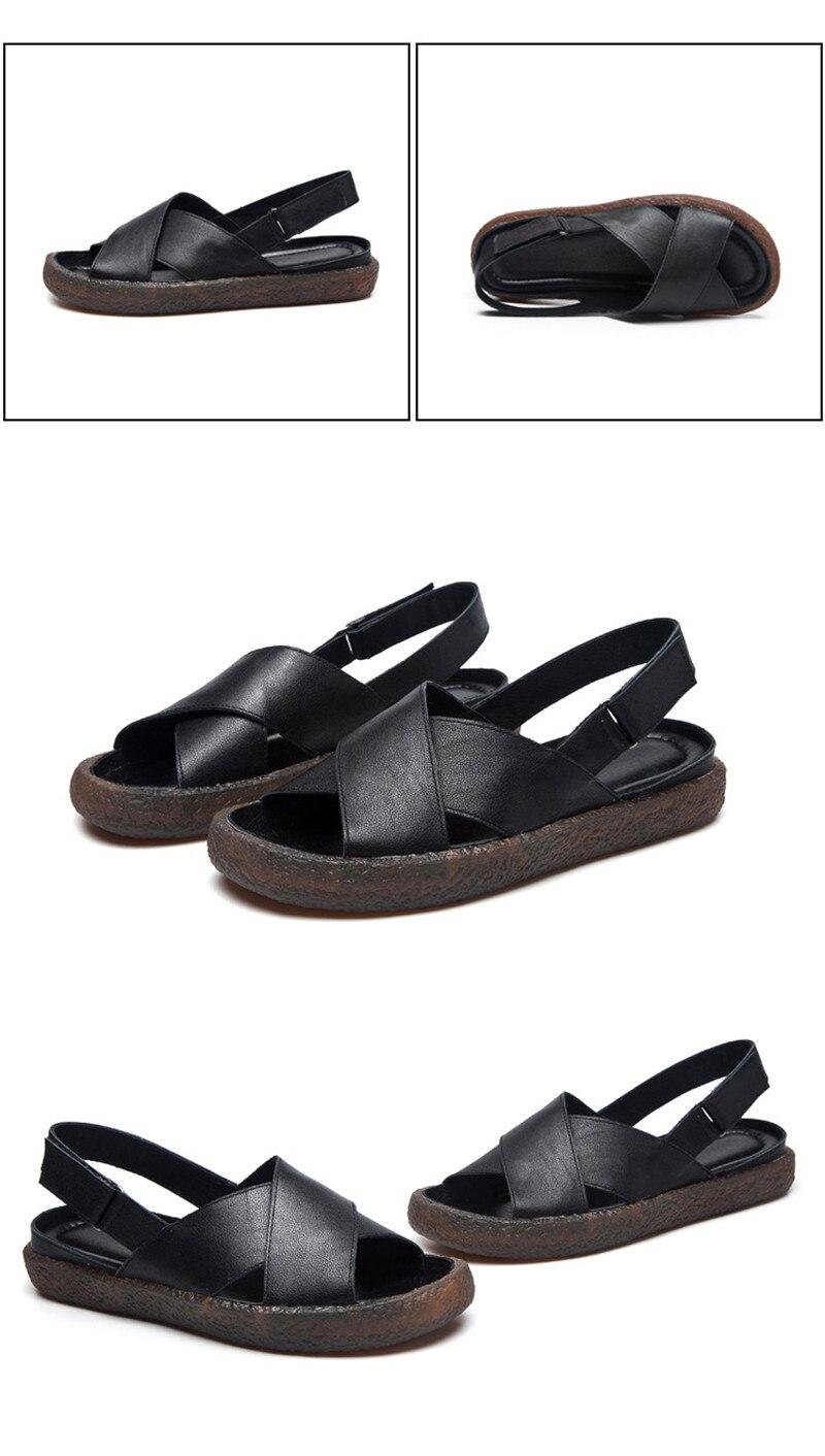 Genuine Leather Handmade Female Sandals Soft Bottom Casual Women Flats Platform Shoes Cross Strap Peep Toe Ladies Slippers Shoes (3)
