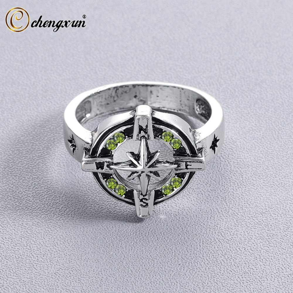 CHENGXUN Wind Rose Signet Ring for Men Unique Symbol Male Compass Antique Green Vintage Style Party Boyfriend Gift