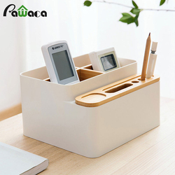 Simple Japan Style Detachable Desktop Storage Box for Remote Control Mobile Phone Makeup Brushes Holder Organizer