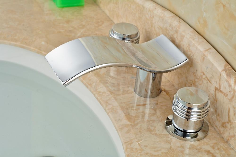 Modern Chrome Brass Bathroom Basin Faucet 2 Handles 3 Holes Vanity Mixer Tap