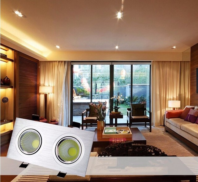 lighting for home office. Free Shipping Square Dimmable LED Recessed Downlight Spot Light Home Office Hotel Lighting Double Heads For