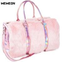 Hot Women Laser Fur PU Gym Bag Reflective Sport Bags Lady Fitness Handbag Girl Travel/Luggage tote Stylish Street Campus Star