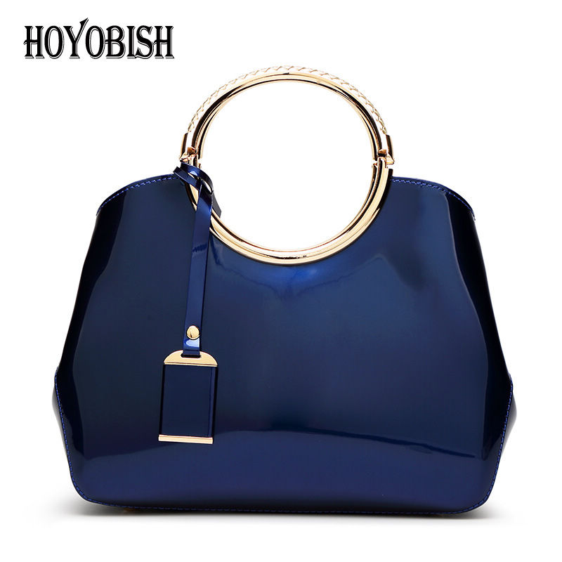 HOYOBISH 2018 Europe Women Patent Leather Handbags Ladies Wedding Party Hand Bag High-end Luxury Women Bag Bolsos mujer OH083