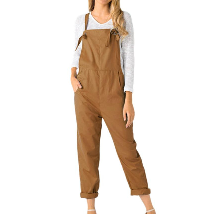 Women Casual Jumpsuits Loose Dungarees Pockets Rompers Solid Bandage Summer Overalls Trousers 5 Colors #BF