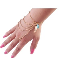 Slave Chain Finger Hand Harness Wristband Bracelet Chain Fas