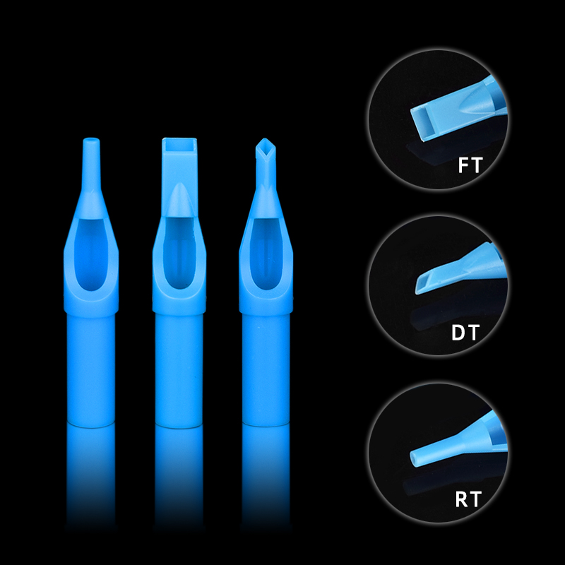 50pcs 3/5/7/9/11/13RT Blue Sterile Disposable Tattoo Machine Gun Nozzle Tips Needle Tube For Tattoo Gun Needle Ink Cup Grip Kits