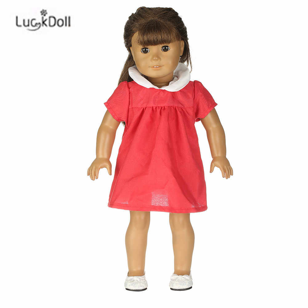 Vestido de Verão Caber 18 LUCKDOLL Polegada Americano 43 centímetros Boneca Roupas Acessórios, Brinquedos Meninas, Geração, presente de aniversário