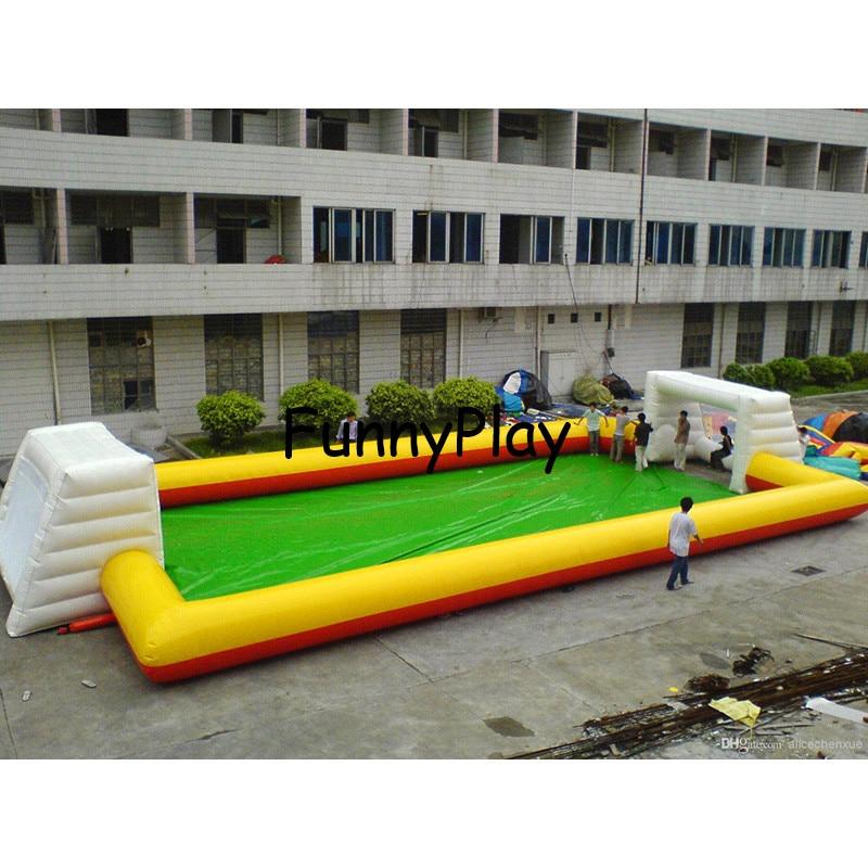 Terrain d'arène de Football gonflable à vendre, livraison gratuite bonne qualité terrain de Football gonflable rouge de 12 m de Long chaud, terrain de Football