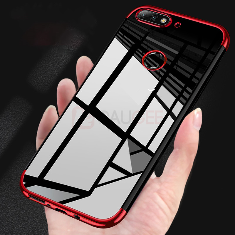 Luxury Soft Case For Honor 7C Case Bumper Cover Silicone Transparent Plating Clear TPU Silicon For Huawei Honor 7C Honor 7C Pro