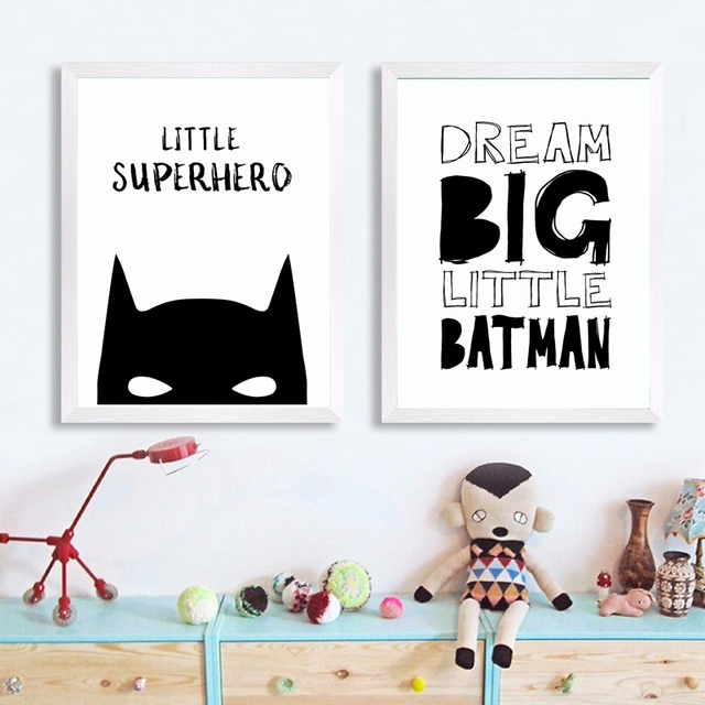 Nordic Style Superhero Batman Canvas Painting Wall Picture , Superhero Quote Canvas Art Print Boys Room Decor Wall Art Poster 2